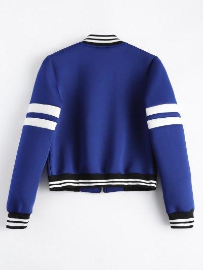 Striped Sleeve Bomber Jacket - BLUE M Mobile