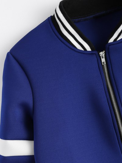 Striped Sleeve Bomber Jacket - BLUE S Mobile