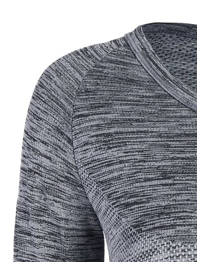 Long Sleeved Space Dye Sports Tee - GRAY L Mobile