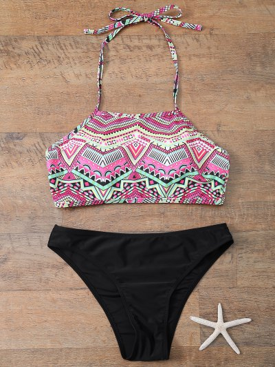 Halter Bikini Set With Diamond Print - BLACK XL Mobile