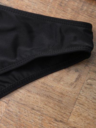 Halter Bikini Set With Diamond Print - BLACK M Mobile