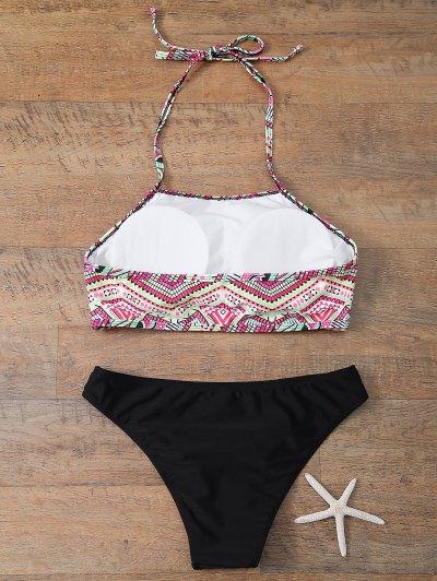 Halter Bikini Set With Diamond Print - BLACK S Mobile