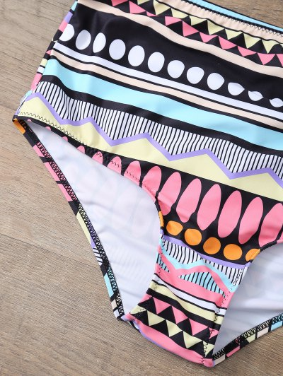 Printed Push Up Vintage Bikini Set - BLACK S Mobile