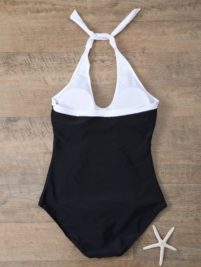 Color Block Sports One-Piece Swimwear - WHITE AND BLACK XL Mobile