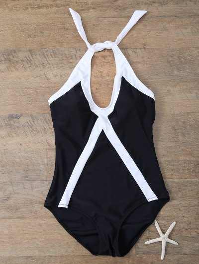 Color Block Sports One-Piece Swimwear - WHITE AND BLACK L Mobile