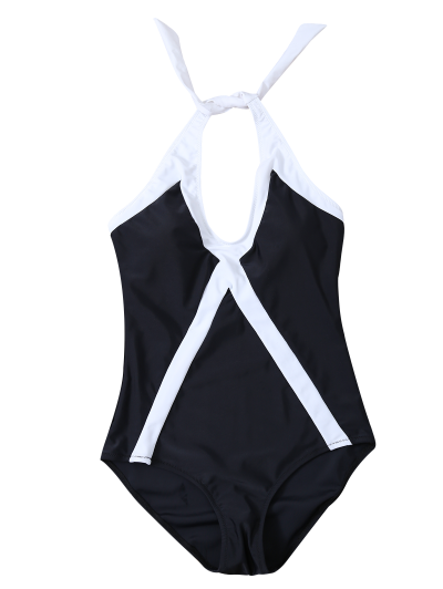 Color Block Sports One-Piece Swimwear - WHITE AND BLACK M Mobile