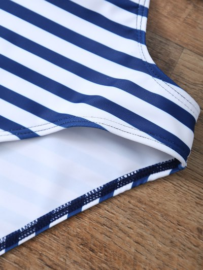 Striped High Cut Tassels One-Piece Swimwear - BLUE AND WHITE S Mobile