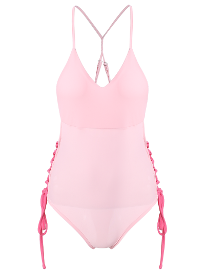 High CutLace-Up  One-Piece Swimwear - PINK XL Mobile