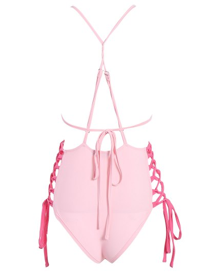 High CutLace-Up  One-Piece Swimwear - PINK L Mobile