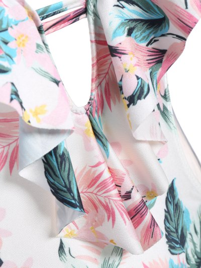 String High Cut Tropical Print One-Piece Swimwear - COLORMIX S Mobile