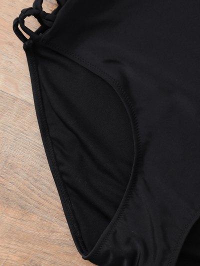 Cut Out Strappy Plus Size One-Piece Swimwear - BLACK 2XL Mobile