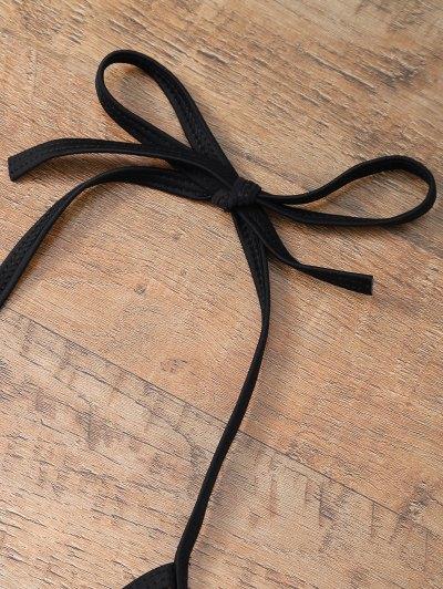 Cut Out Strappy Plus Size One-Piece Swimwear - BLACK L Mobile