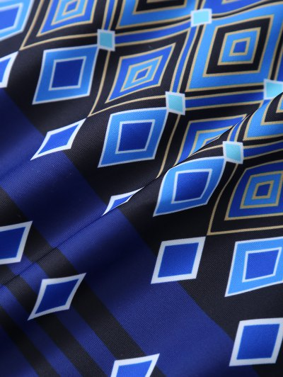 Plus Size Crosscriss Printed One-Piece Swimwear - BLUE 3XL Mobile