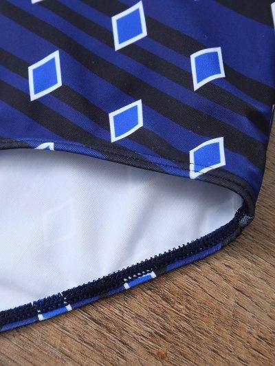 Plus Size Crosscriss Printed One-Piece Swimwear - BLUE 2XL Mobile