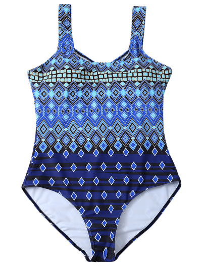Plus Size Crosscriss Printed One-Piece Swimwear - BLUE L Mobile