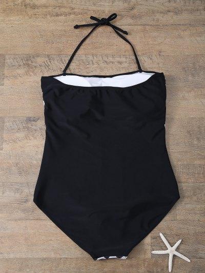 Plus Size Diamond Print One-Piece Swimwear - WHITE AND BLACK 3XL Mobile