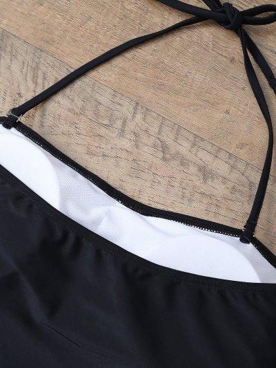 Plus Size Diamond Print One-Piece Swimwear - WHITE AND BLACK XL Mobile