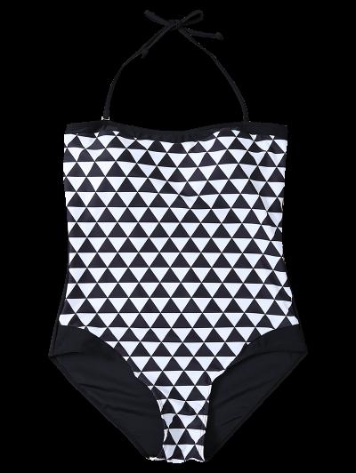 Plus Size Diamond Print One-Piece Swimwear - WHITE AND BLACK L Mobile