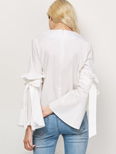 Oversized Flare Sleeve Flounced Blouse - WHITE L Mobile
