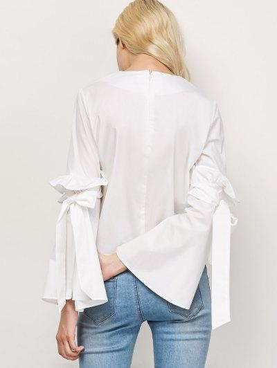 Oversized Flare Sleeve Flounced Blouse - WHITE L Mobile