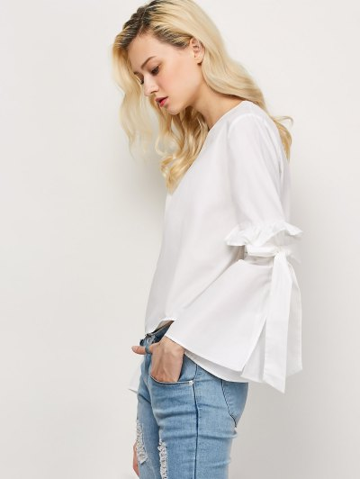 Oversized Flare Sleeve Flounced Blouse - WHITE M Mobile
