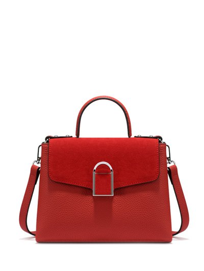 Suede Panel Flapped Handbag - RED  Mobile