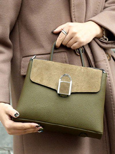 Suede Panel Flapped Handbag - GREEN  Mobile
