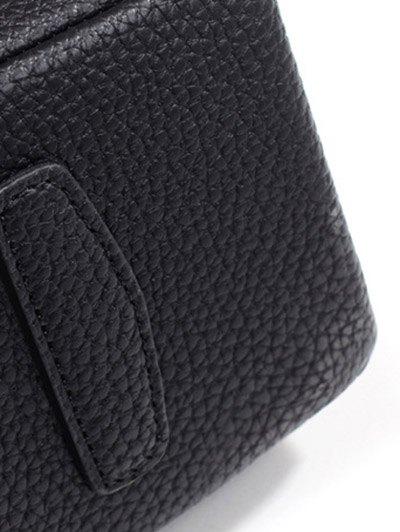Suede Panel Flapped Handbag - BLACK  Mobile
