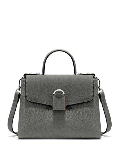 Suede Panel Flapped Handbag - GRAY  Mobile