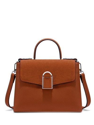 Suede Panel Flapped Handbag - BROWN  Mobile
