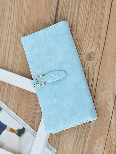 Metal Embellished Bi Fold Clutch Wallet - BLUE  Mobile