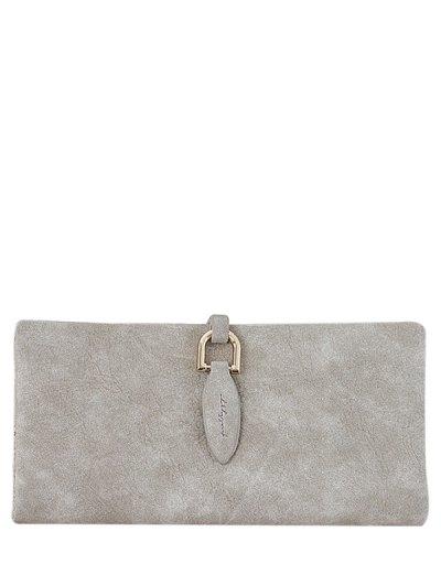 Metal Embellished Bi Fold Clutch Wallet - LIGHT KHAKI  Mobile