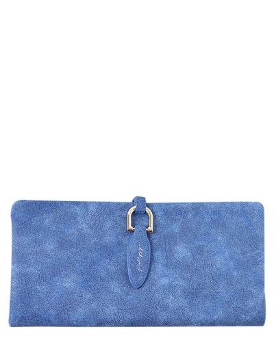 Metal Embellished Bi Fold Clutch Wallet - SAPPHIRE BLUE  Mobile