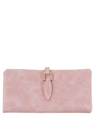 Metal Embellished Bi Fold Clutch Wallet - PINK  Mobile