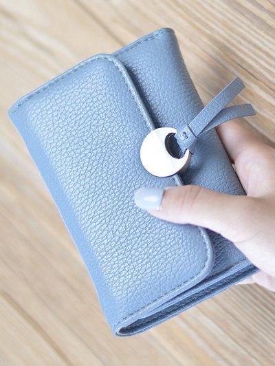 Metal Embellished Tri Fold Samll Wallet - LAKE BLUE  Mobile