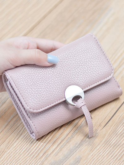 Metal Embellished Tri Fold Samll Wallet - PINK  Mobile