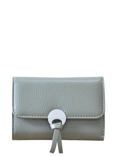 Metal Embellished Tri Fold Samll Wallet - OLIVE GREEN  Mobile