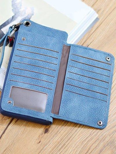 Faux Leather Wristlet Wallet - BLUE  Mobile