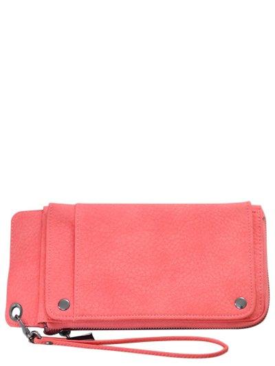 Faux Leather Wristlet Wallet - WATERMELON RED  Mobile