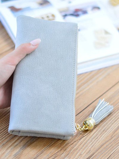 Stitching Tassel Clutch Wallet - GRAY  Mobile
