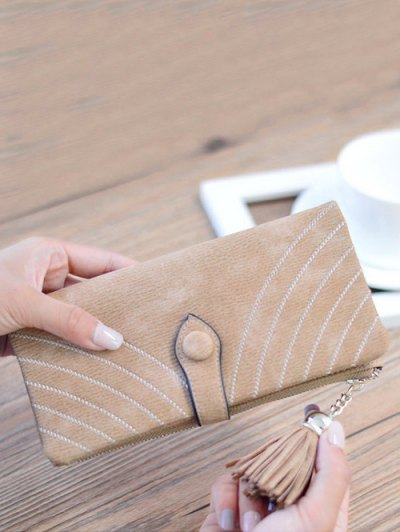 Stitching Tassel Clutch Wallet - LIGHT COFFEE  Mobile