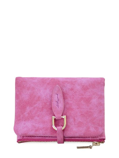 PU Leather Bi Fold Small Wallet - ROSE RED  Mobile