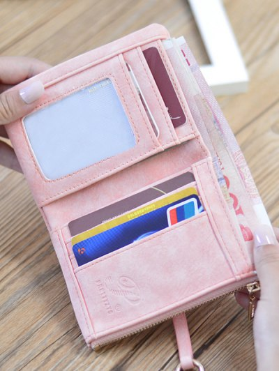 PU Leather Bi Fold Small Wallet - PINK  Mobile