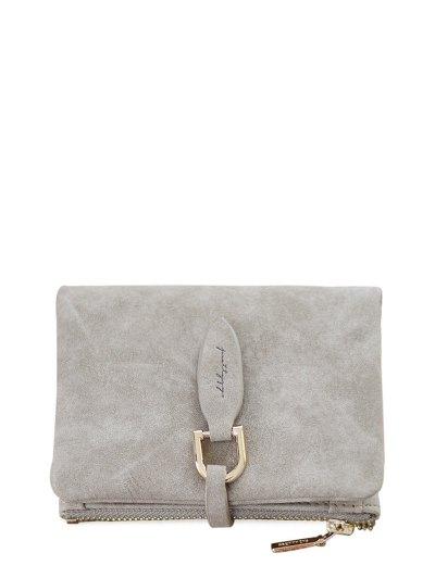 PU Leather Bi Fold Small Wallet - GRAY  Mobile