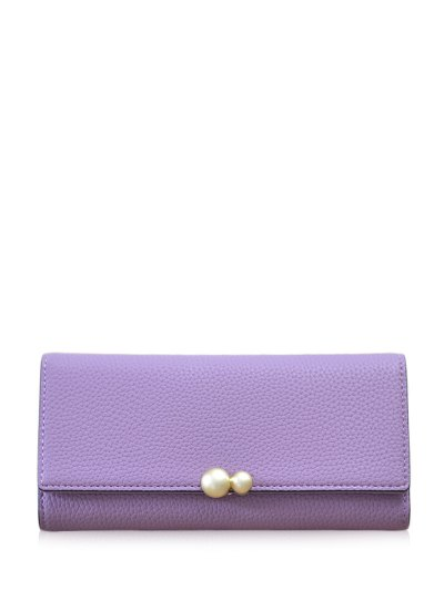 Textured Tri Fold Clutch Wallet - PURPLE  Mobile