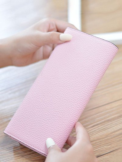 Textured Tri Fold Clutch Wallet - PINK  Mobile