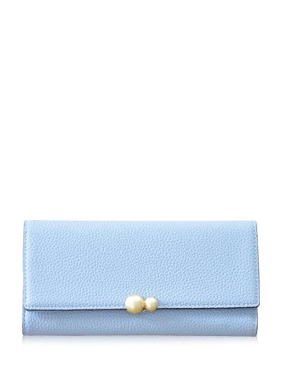 Textured Tri Fold Clutch Wallet - LIGHT BLUE  Mobile