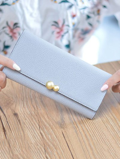 Textured Tri Fold Clutch Wallet - BLUE GRAY  Mobile