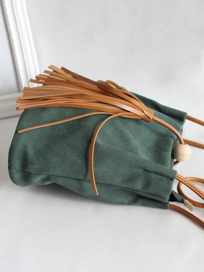 Tassel Wood Bead Shoulder Bag - GREEN  Mobile