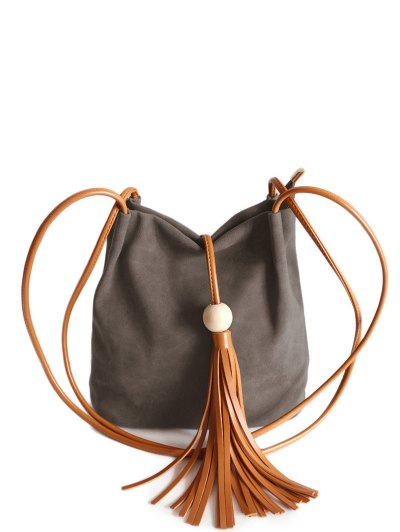 Tassel Wood Bead Shoulder Bag - COFFEE  Mobile